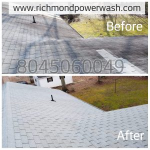 Richmond Power Wash Roof Cleaning Before and After