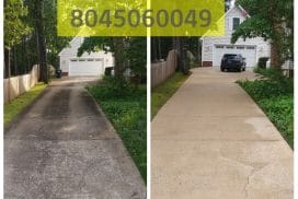 Richmond Power Wash driveway cleaning Lauderale, Va before and after