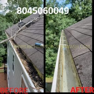 Richmond Power Wash gutter clean before and after 23227
