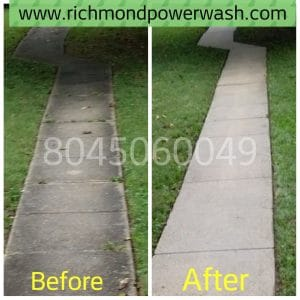Richmond Power Wash sidewalk cleaning before and after